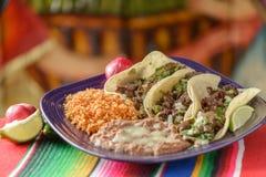 Kleurrijke Traditionele Mexicaanse voedselschotels Stock Afbeelding