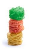 Kleurrijke tricolor van de deegwarentagliatelle Stock Afbeeldingen