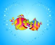 Kleurrijke tropische vissen in liefde Stock Foto