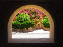 Kleurrijke tuinmening Royalty-vrije Stock Afbeeldingen