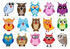 Kleurrijke uilen Stock Afbeelding