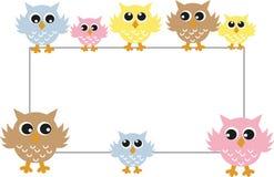 Kleurrijke uilen met een aanplakbiljet Stock Afbeeldingen