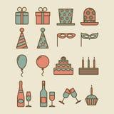 Kleurrijke uitstekende partijpictogrammen stock illustratie