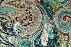 Kleurrijke uitstekende stof met de blauwe en bruine druk van Paisley Stock Afbeelding