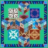 Kleurrijke uitstekende tegels met bloemen en geometrische patronen Stock Fotografie