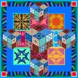 Kleurrijke uitstekende tegels met bloemen en geometrische patronen Stock Afbeelding