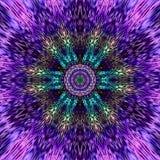 Kleurrijke ultraviolette en indigomandala met binnen Boedha-Gezicht Stock Foto