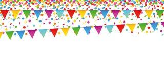 Kleurrijke van de confettienregen en partij vlaggen op witte achtergrond vector illustratie