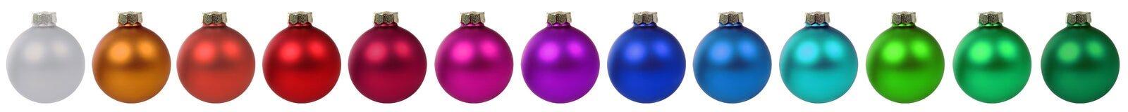 Kleurrijke van de de snuisterijendecoratie van Kerstmisballen de grens op een rij isol Royalty-vrije Stock Afbeelding