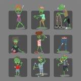 Kleurrijke van de kaartenhalloween van het zombie enge beeldverhaal van het de mensenlichaam magische van de de pretgroep van het stock illustratie