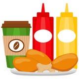 Kleurrijke van de de koffiethee van het affiche snelle voedsel van de kippengebraden gerechten van de de ketchupmosterd de sausfl royalty-vrije illustratie