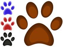 Kleurrijke van de de pootvoetafdruk van de beeldverhaalkat het pictogram vastgestelde affiche vector illustratie
