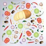 Kleurrijke van het patroon Ruwe Voedsel Vectorillustratie Als achtergrond Royalty-vrije Stock Foto's