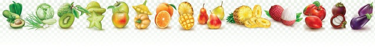 Kleurrijke vastgestelde vruchten en groenten stock illustratie