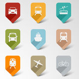 Kleurrijke vastgestelde Web retro wijzers voor vervoer Royalty-vrije Stock Afbeeldingen