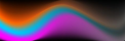 Kleurrijke vector abstracte achtergrond, oranje, blauwe purpere golvende vector op donkere basis vector illustratie