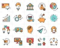 Kleurrijke vector bedrijfs geplaatste pictogrammen, infographic symbolen royalty-vrije illustratie
