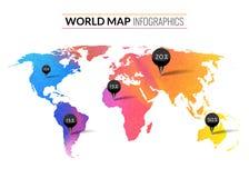 Kleurrijke vector de kaartinfographics van de waterverfwereld met markeringenspelden en percents Royalty-vrije Stock Afbeeldingen