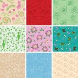 Kleurrijke vectorachtergronden - bloemen naadloze patronen vector illustratie