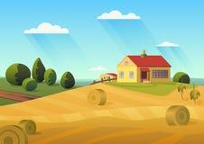 Kleurrijke vectorillustratie van boerderij in platteland met gouden hooibergen en blauwe hemel royalty-vrije illustratie