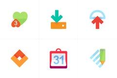 Kleurrijke Vectorpictogrammen voor Apps Royalty-vrije Stock Fotografie