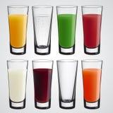Kleurrijke vectorreeks glazen Stock Afbeeldingen