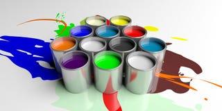 Kleurrijke verfblikken op witte achtergrond, 3d illustratie vector illustratie