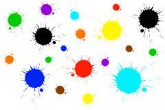 Kleurrijke verfplonsen Royalty-vrije Stock Foto's