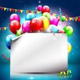 Kleurrijke verjaardagsachtergrond met leeg document Stock Afbeeldingen