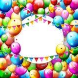 Kleurrijke Verjaardagsballons en confettien met plaats voor tekst Stock Foto