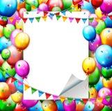Kleurrijke Verjaardagsballons en confettien met plaats voor tekst Stock Afbeelding