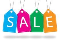 Kleurrijke verkoopmarkeringen met draad Stock Foto's