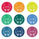 Kleurrijke verkoopmarkeringen met lauwerkrans Royalty-vrije Stock Foto
