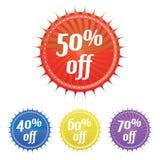 Kleurrijke verkoopstickers Royalty-vrije Stock Afbeeldingen