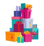 Kleurrijke verpakte giftdozen Mooie huidige doos met overweldigende boog Het pictogram van de giftdoos Giftsymbool De doos van de Royalty-vrije Stock Afbeelding