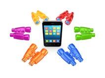 Kleurrijke verrekijkers rond mobiele telefoon. Royalty-vrije Stock Afbeeldingen