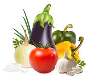 Kleurrijke verse groep groenten. Royalty-vrije Stock Foto