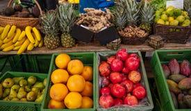 Kleurrijke vertoning van diverse vruchten in een lokale markt in Berlin Germany, stock foto