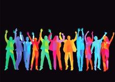 Kleurrijke vierende groep Stock Fotografie