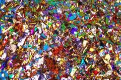 Kleurrijke vieringsachtergrond met confettien Vlak leg royalty-vrije stock afbeeldingen