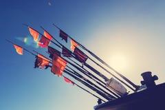 Kleurrijke visserijvlaggen om de visserij in snijder te merken Royalty-vrije Stock Afbeeldingen