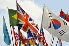 Kleurrijke Vlaggen Stock Foto