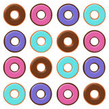 Kleurrijke Vlakke Donuts Stock Foto's