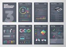 Kleurrijke vlakke infographic malplaatjes op donkere achtergrond Stock Foto
