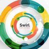 Kleurrijke vlakke ontwerp abstracte achtergrond Werveling en cirkel gestalte gegeven lijnen op wit vector illustratie