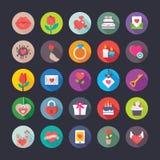Kleurrijke Vlakke Pictogrammenreeks van Liefde en Valentine stock illustratie