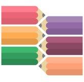 Kleurrijke vlakke potloden Stock Afbeeldingen