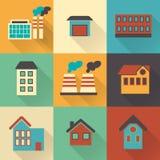 Kleurrijke vlakke stadselementen met schaduwen voor het creëren van uw eigen infographic kaart stock illustratie