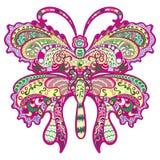 Kleurrijke vlinder, decoratief ornament. Stock Afbeeldingen
