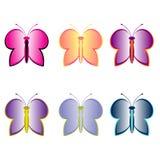 Kleurrijke Vlinderreeks Royalty-vrije Illustratie